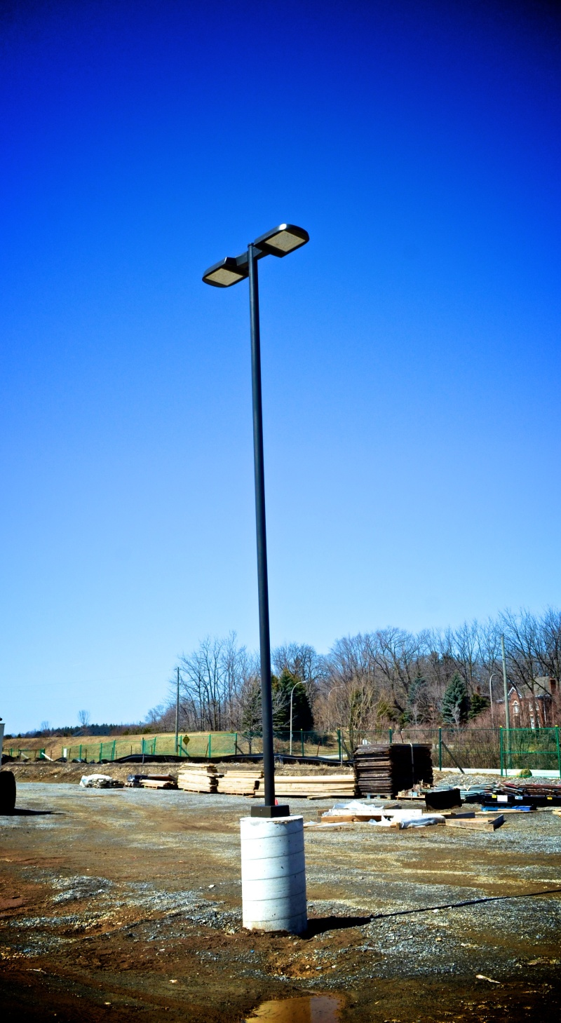 The lampposts have now been installed in the parking lot