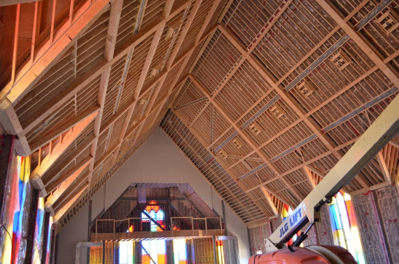 The framing of the ceiling in the sanctuary is done