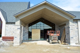 The installation of the front entrance doors has started