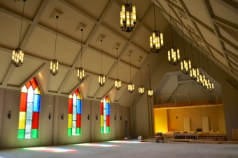 The sanctuary is now painted and the lights have been installed